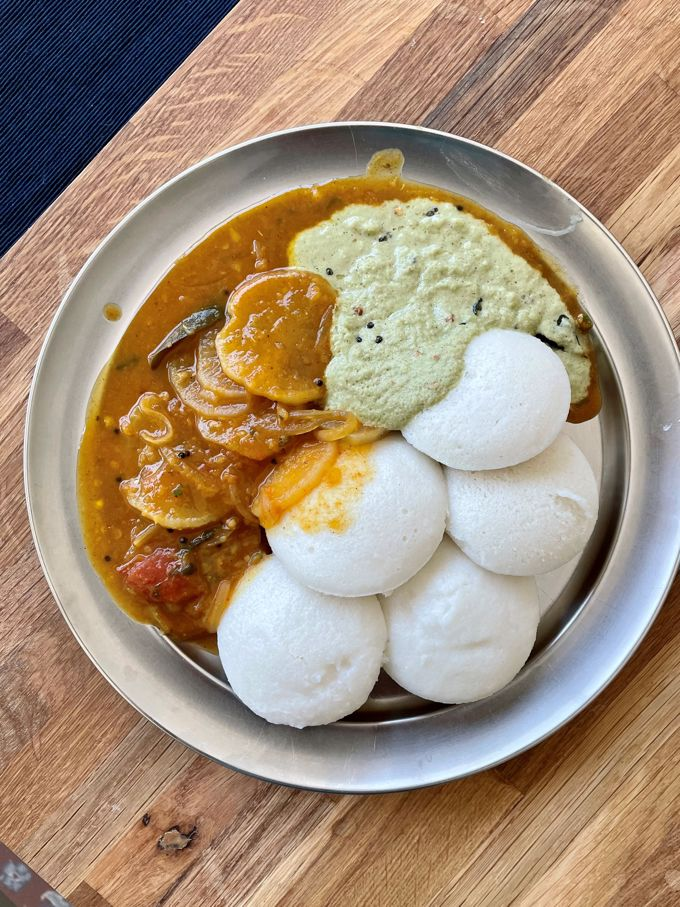 Radish sambar served with idli and chutney