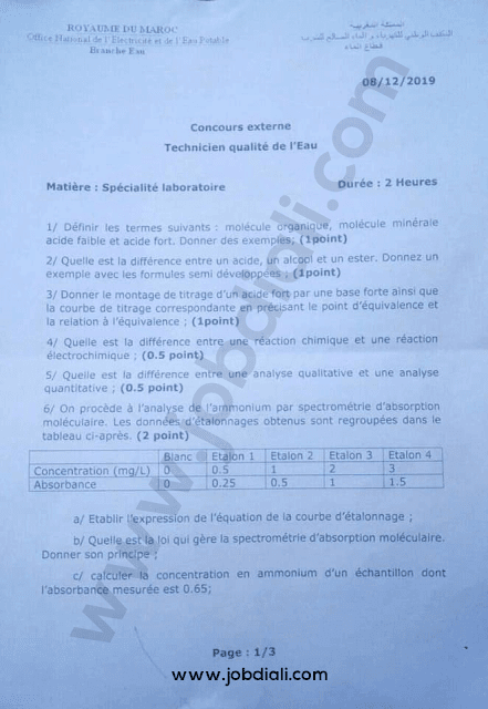 Exemple Concours Technicien Qualite de l'Eau 2019 - ONEP