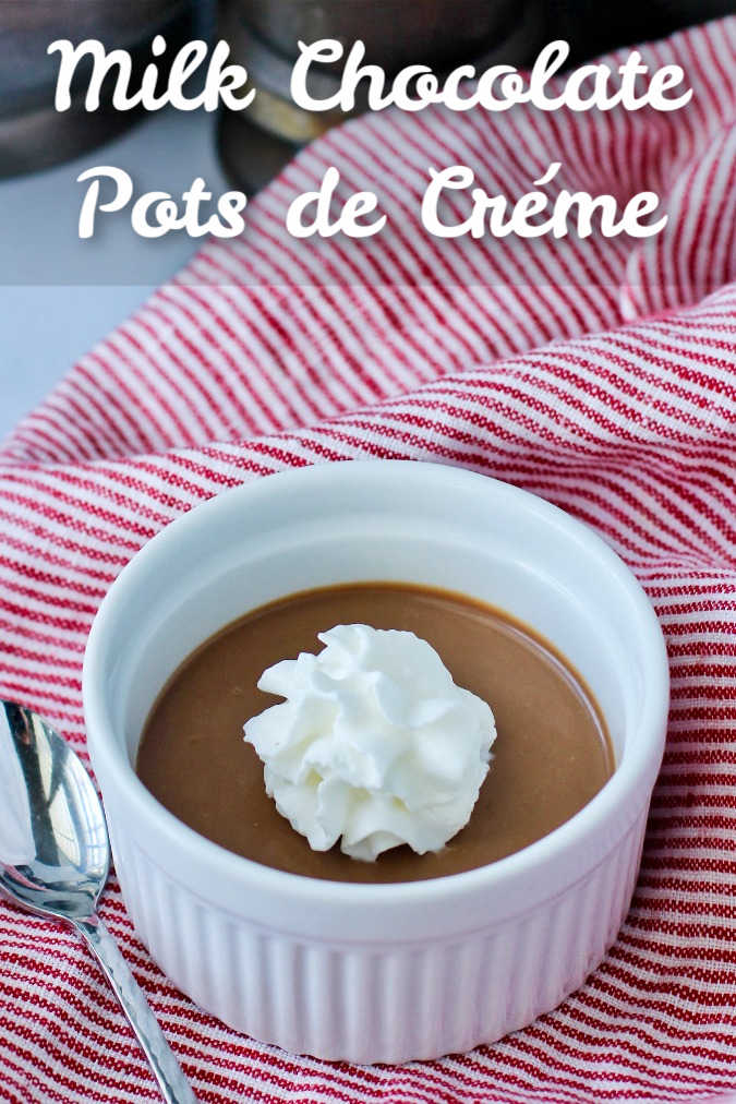 Milk Chocolate Pots de Crème with whipped cream topping