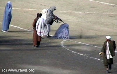 Public execution by Taliban of Afghan woman Zarmeena in a football stadium in Kabul, Afghanistan, in November 1999