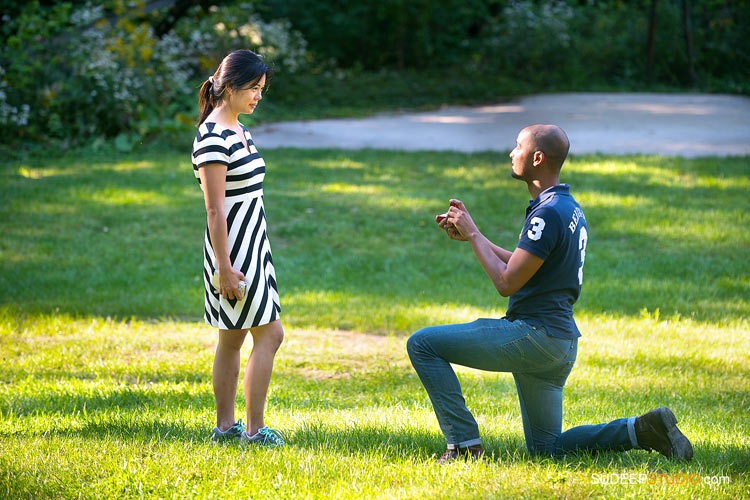 Surprise Engagement Proposal Photography Ann Arbor Arboretum SudeepStudio.com Ann Arbor Wedding Photographer