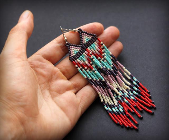 длинные этнические серьги купить в интернет магазине изделий из бисера