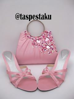 Tas Pesta Clutch Bag Sepatu Baby Pink Handmade