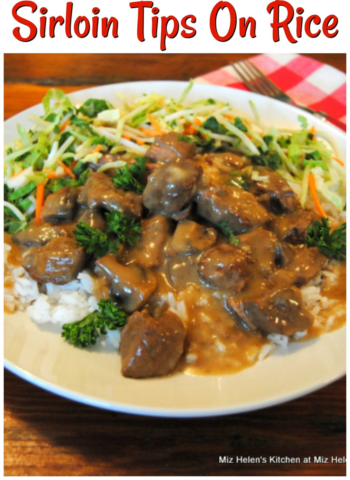 Sirloin Tips On Rice