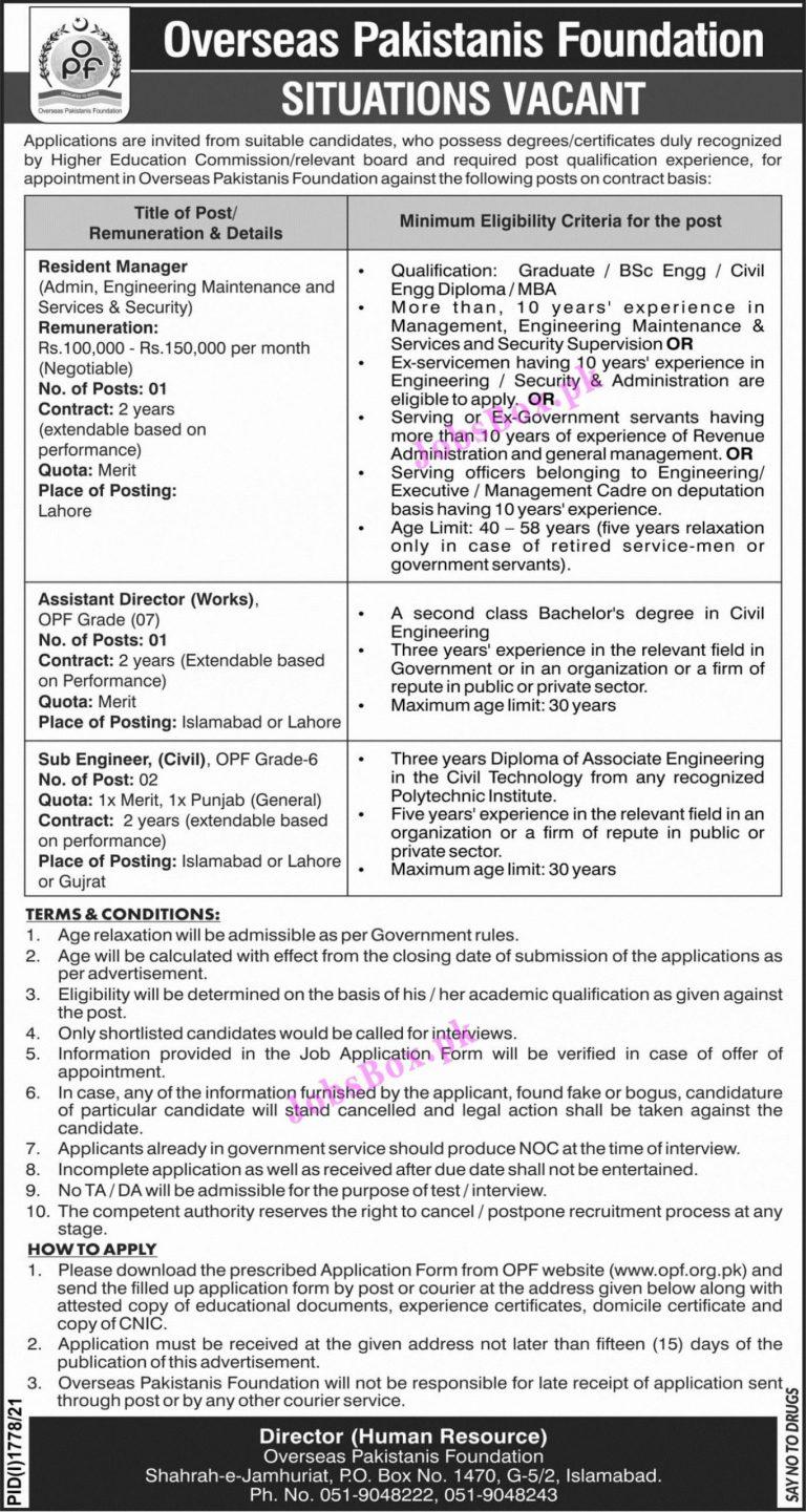 www.opf.org.pk - OPF Overseas Pakistanis Foundation Jobs 2021 in Pakistan