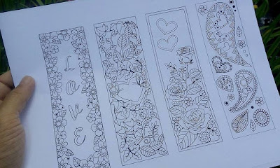 Valentines Day Coloring Bookmarks Hearts