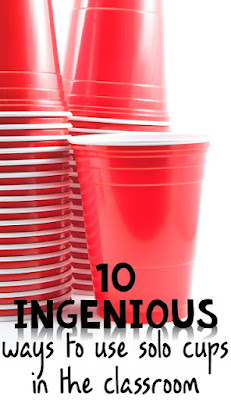 Plastic cups in the classroom