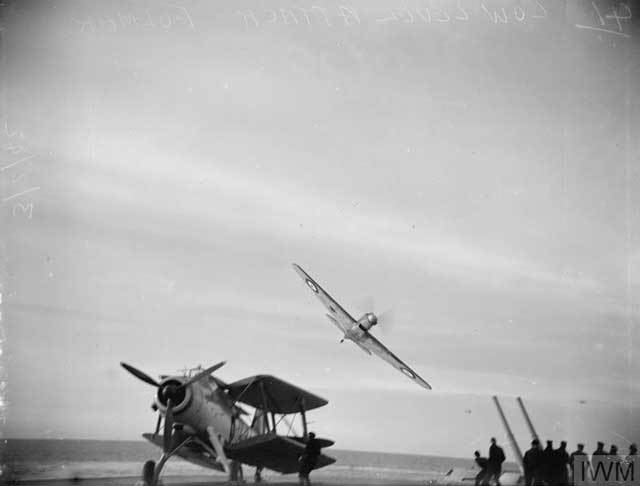 Fairey Fulmar flying off of HMS Victorioius, 3 February 1942 worldwartwo.filminspector.com