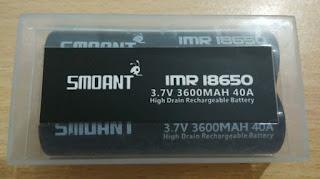 Baterai Rechargeable SMOANT HITAM 18650 40A Battery Batre 3600mAh - 1 PCS