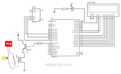 Rangkaian Timer digital dengan ATMega16A untuk lampu otomatis