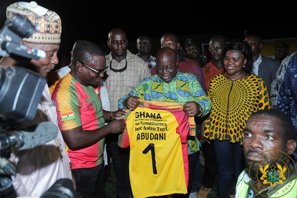 President Akufo-Addo Inspects Completed Madina Astro Turf; Inspects State Housing Company Projects In Adenta