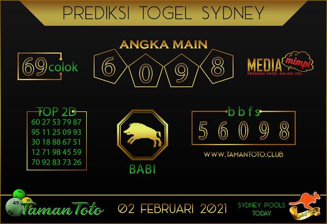 Prediksi Togel SYDNEY TAMAN TOTO 03 FEBRUARI 2021