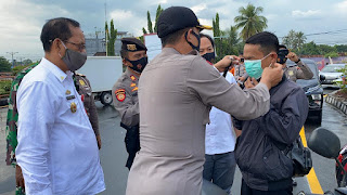 Gelar Kampanye Protokol  Kesehatan Covid 19, Polres Lampung Utara Bagikan 15000 Masker
