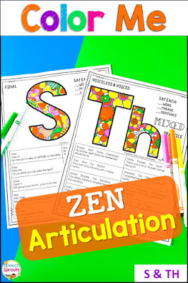 Zen coloring articulation activities for s and th sounds in mixed group speech therapy sessions that are calm and engaged. Elementary and middle school kids love coloring the beautiful patterns on these printables, and they are no-prep for you! #speechsprouts #speechtherapy #articulation #noprep