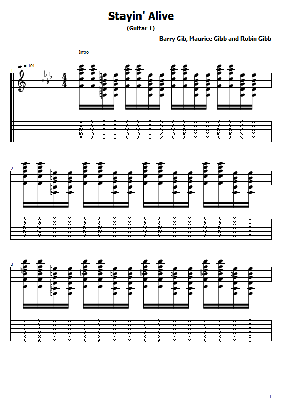 Stayin' Alive Tabs Bee Gees - How To Play Stayin' Alive, Bee Gees On Guitar Free Tabs & Free Sheet Music. Bee Gees - Stayin' Alive