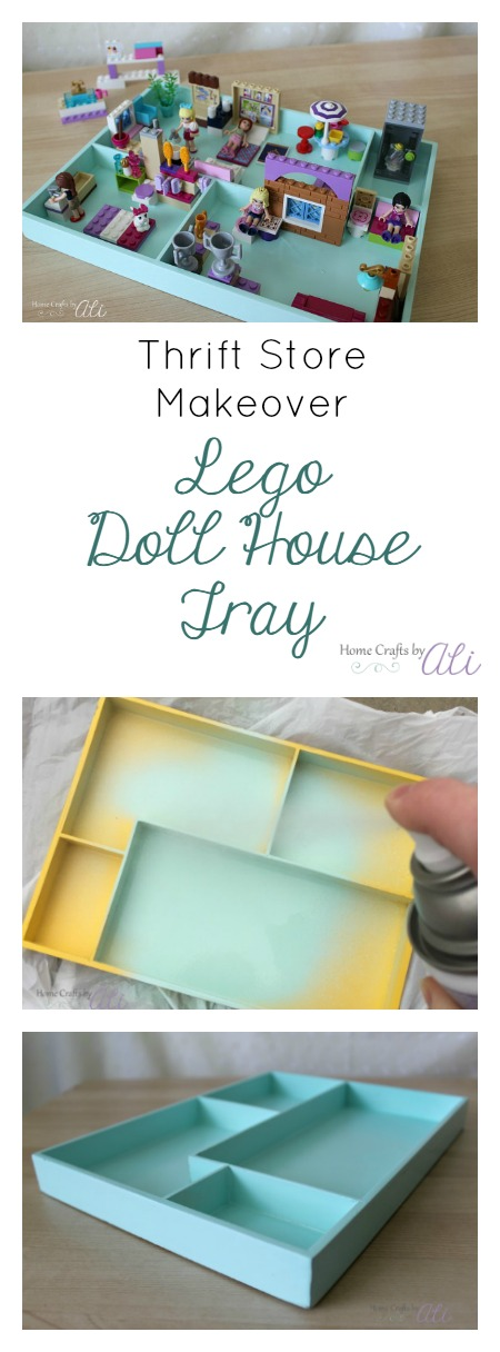Thrift store makeover lego doll house tray tutorial