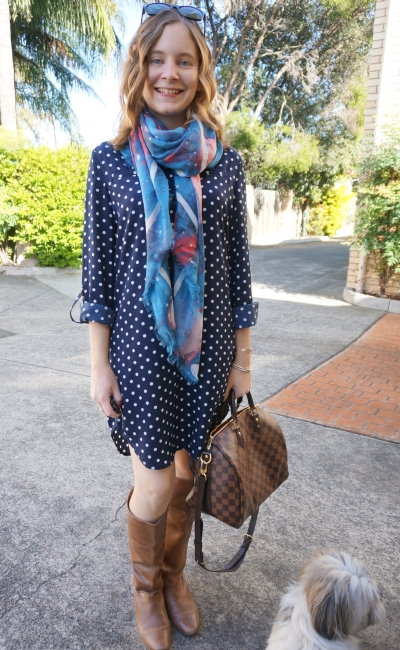 Atmos&Here polly polka dot shirt dress in autumn tall boots mbmj scarf