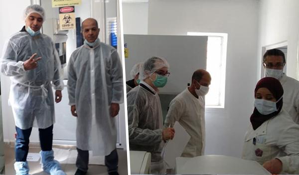 """مدير التطوير بوزارة التعليم العالي يعاين مخبر الكشف عن """"كورونا """" بالشلف"""