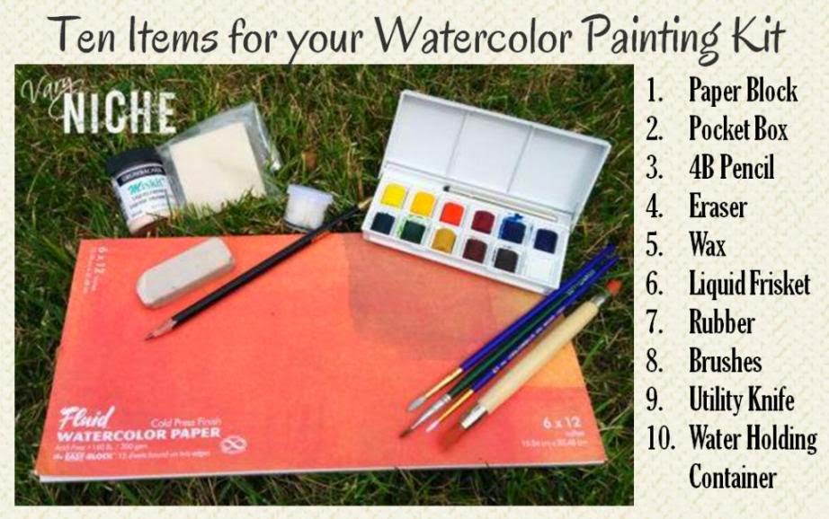 A list of items to include in a watercolor painting kit. Read the blog post for descriptions of the items and links to find them.