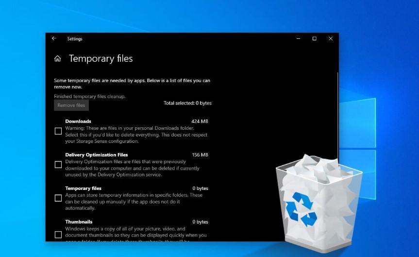 قم بتحرير مساحة القرص عن طريق حذف ملفات ومجلدات Temp - Windows 10