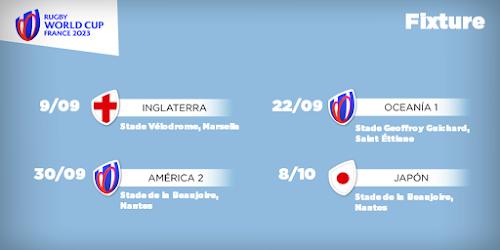 Fixture del mundial de Francia 2023 #RWC2023