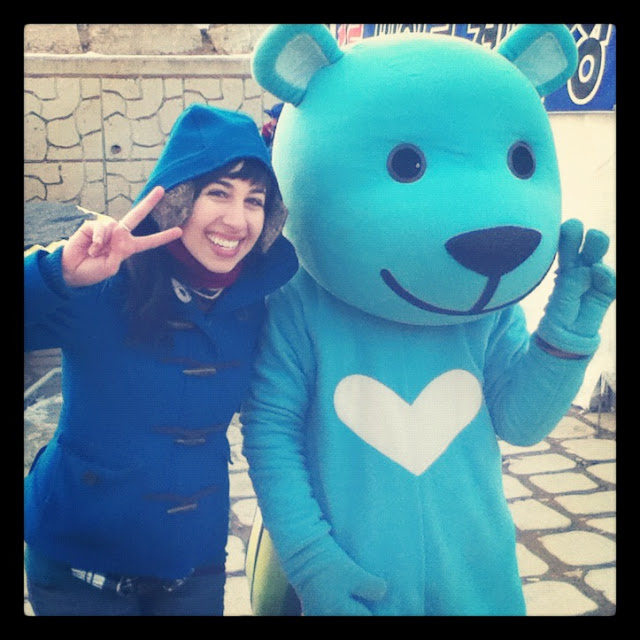 The blue bear mascot of The Hwacheon Ice Festival in Korea | Lindsay Eryn
