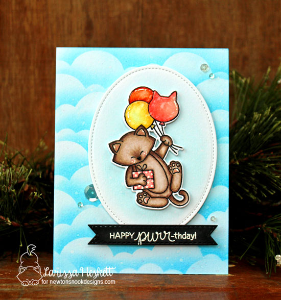 Happy Purr-thday! Cat with Balloons Birthday Card by Larissa Heskett | Newton's Birthday Balloons Stamp Set and Sky Borders Die Set by Newton's Nook Designs #handmade #newtonsnook