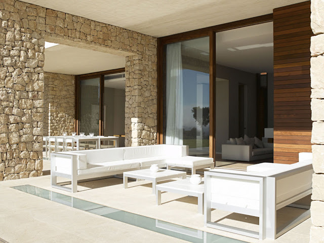 White modern furniture on the terrace