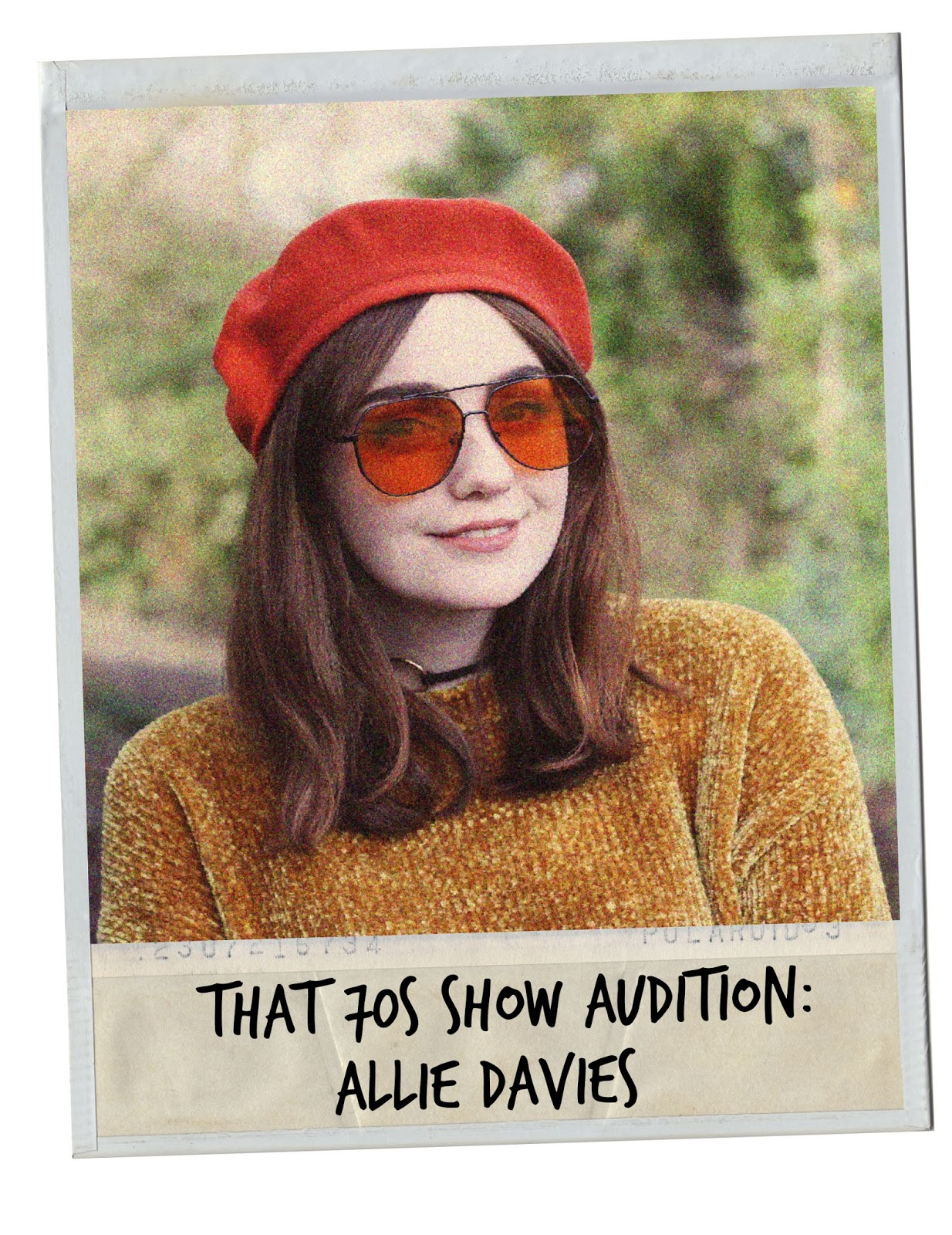70s fashion polaroid with orange beret and aviator style sunglasses