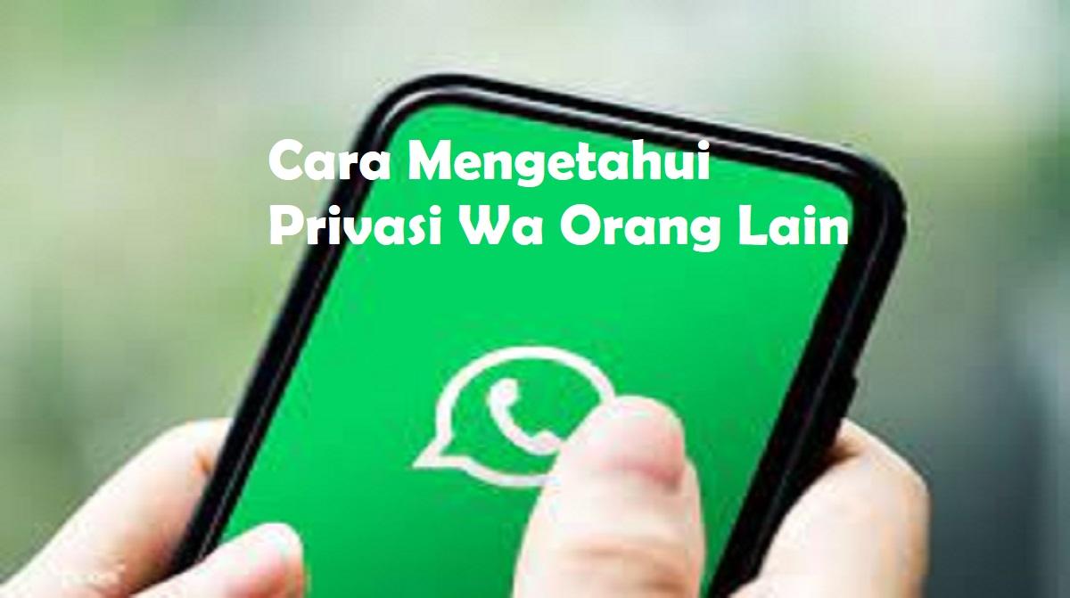 Cara Mengetahui Privasi Wa Orang Lain