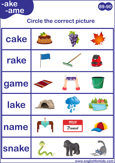 Long A sound word to picture matching worksheet