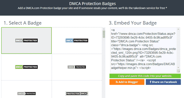 Select One DMCA Badge and Copy the Code - DMCA.com