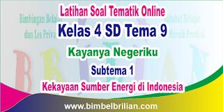 Soal Tematik Kelas 4 SD Tema 9 Subtema 1 Kekayaan Sumber Energi di Indonesia dan Kunci Jawaban