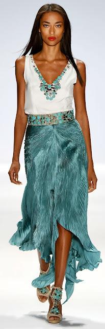runway: Carlos Miele SS 2013 turquoise skirt