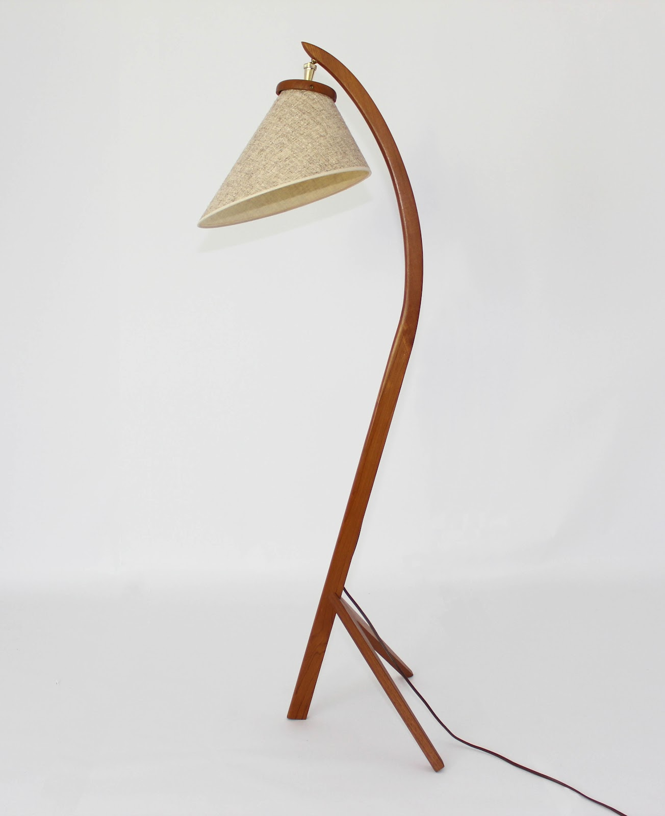 Mansion Decor Mid Century Danish Teak Bow Floor Lamp