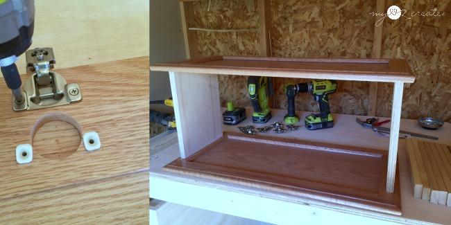 measuring cupboard doors for making a bookshelf