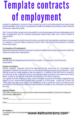 Template contracts of employment - Australia