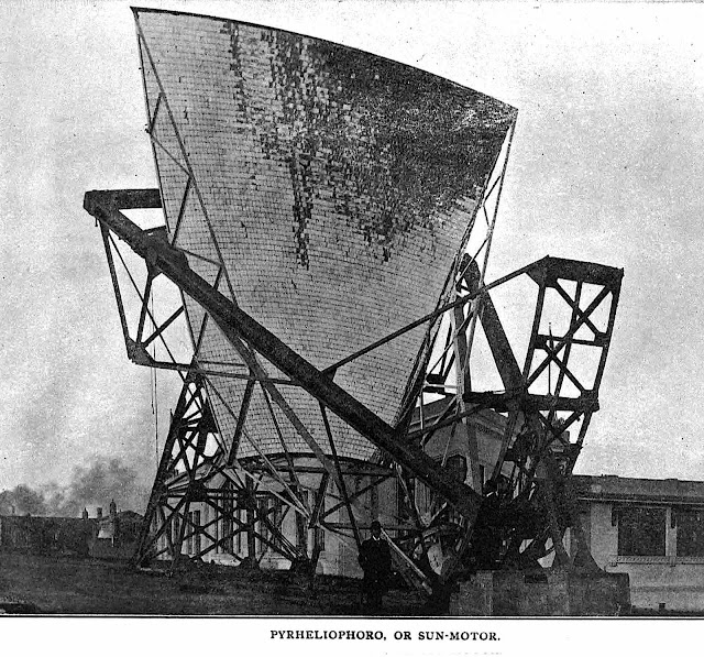 A photograph of 1904 Pyrheliophoro solar power electricity device at the St. Louis World's fair