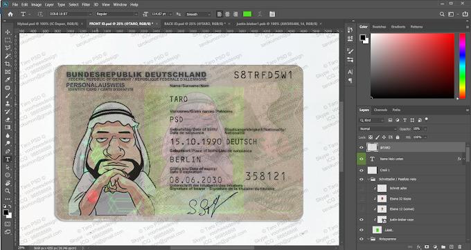 GERMANY ID CARD Editable PSD Template