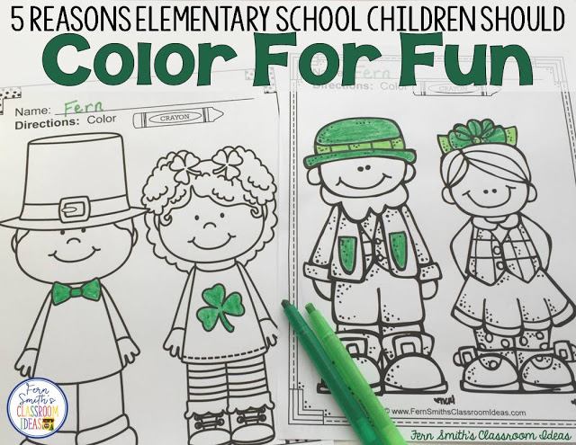 I wrote a post about the need for coloring in the Elementary School Classrooms, click here to ready more about that, or to Pin It for later.