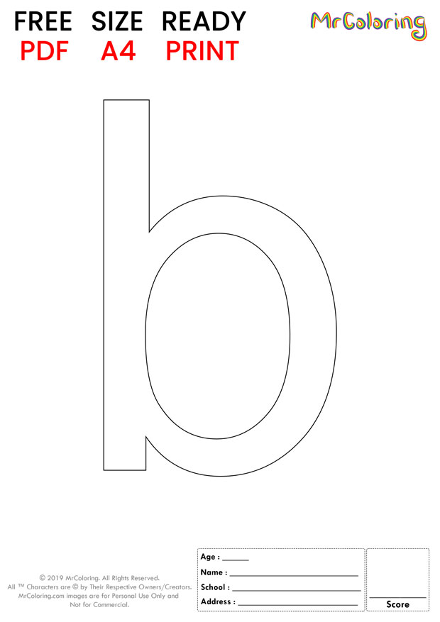 Alphabet letter b coloring pages lowercase flat for kids
