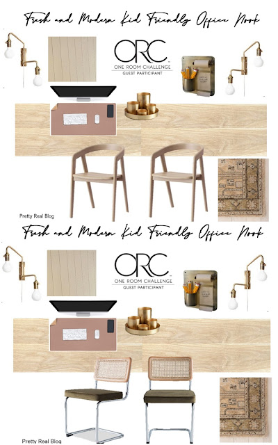 design board for office space in the kitchen