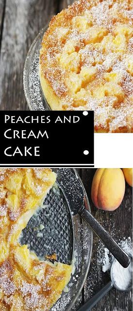 Peaches and Cream Cake #Peaches #Cream #Cake