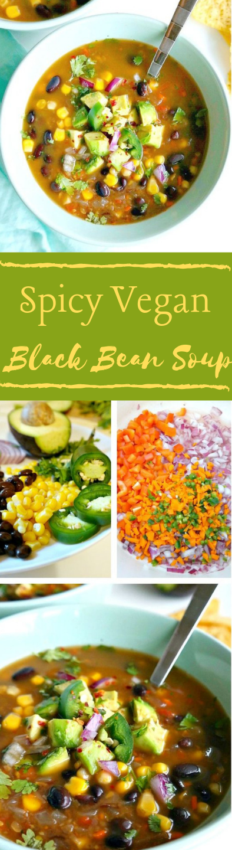 Spicy Vegan Black Bean Soup #healthydiet #paleo #keto #kategonicdiet #meals