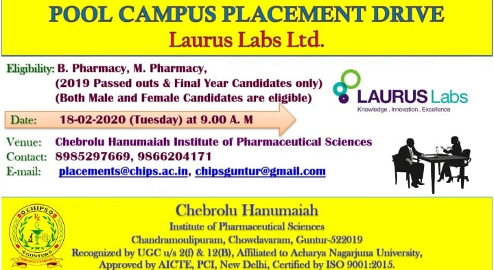 LAURUS Labs - Pool Campus Drive for Freshers on 18th Feb' 2020 @ CHIPS