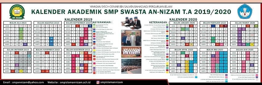 KALENDER PENDIDIKAN SMP ISLAM AN-NIZAM 2019-2020