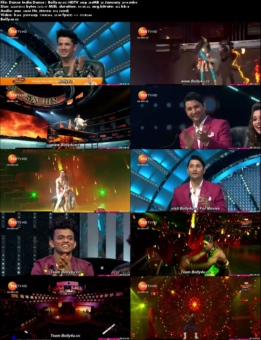 Dance India Dance HDTV 480p 200MB 28 January 2018 Download