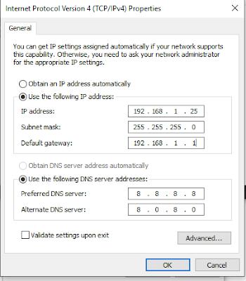 Server DNS Pilihan didefinisikan sebagai bagian dari konfigurasi TCP / IP