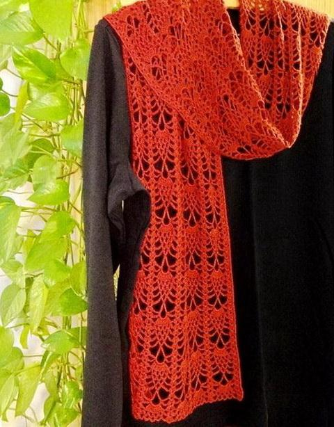 Crochet Lace Scarf - Pineapple Stitch, Red