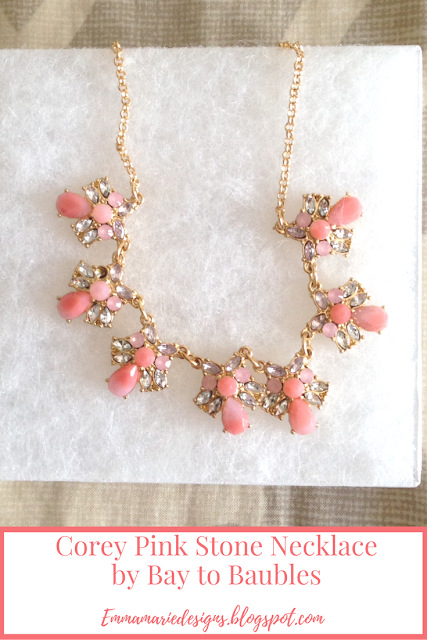 Corey Pink Stone Necklace by Bay to Baubles @ emmamriedesigns.blogspot.com
